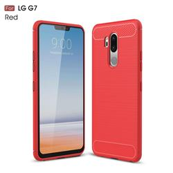 Luxury Carbon Fiber Brushed Wire Drawing Silicone TPU Back Cover for LG G7 ThinQ - Red