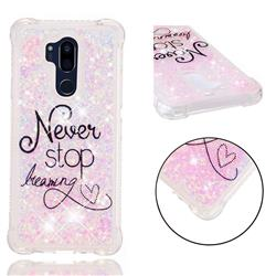 Never Stop Dreaming Dynamic Liquid Glitter Sand Quicksand Star TPU Case for LG G7 ThinQ