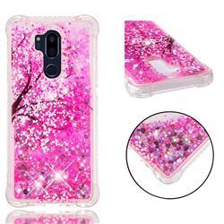 Pink Cherry Blossom Dynamic Liquid Glitter Sand Quicksand Star TPU Case for LG G7 ThinQ
