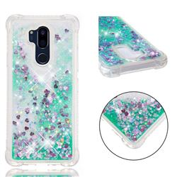 Dynamic Liquid Glitter Sand Quicksand TPU Case for LG G7 ThinQ - Green Love Heart