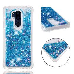 Dynamic Liquid Glitter Sand Quicksand TPU Case for LG G7 ThinQ - Blue Love Heart