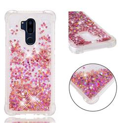Dynamic Liquid Glitter Sand Quicksand TPU Case for LG G7 ThinQ - Rose Gold Love Heart