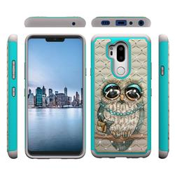 Sweet Gray Owl Studded Rhinestone Bling Diamond Shock Absorbing Hybrid Defender Rugged Phone Case Cover for LG G7 ThinQ