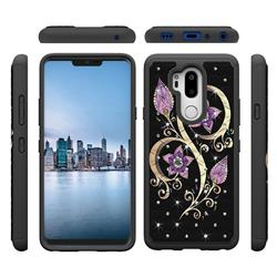 Peacock Flower Studded Rhinestone Bling Diamond Shock Absorbing Hybrid Defender Rugged Phone Case Cover for LG G7 ThinQ