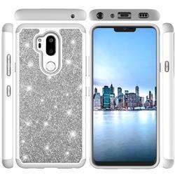 Glitter Rhinestone Bling Shock Absorbing Hybrid Defender Rugged Phone Case Cover for LG G7 ThinQ - Gray