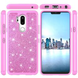Glitter Rhinestone Bling Shock Absorbing Hybrid Defender Rugged Phone Case Cover for LG G7 ThinQ - Pink