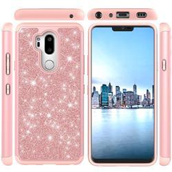 Glitter Rhinestone Bling Shock Absorbing Hybrid Defender Rugged Phone Case Cover for LG G7 ThinQ - Rose Gold