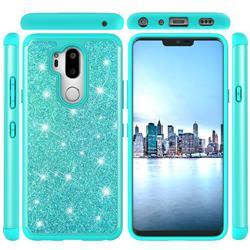 Glitter Rhinestone Bling Shock Absorbing Hybrid Defender Rugged Phone Case Cover for LG G7 ThinQ - Green
