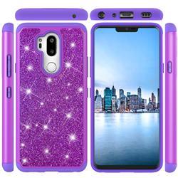 Glitter Rhinestone Bling Shock Absorbing Hybrid Defender Rugged Phone Case Cover for LG G7 ThinQ - Purple
