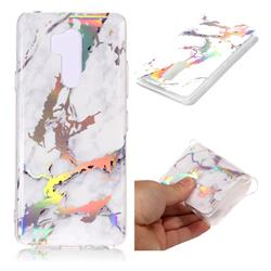 White Marble Pattern Bright Color Laser Soft TPU Case for LG G7 ThinQ