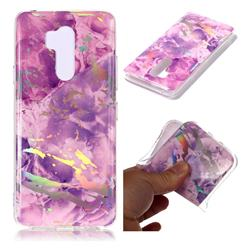 Purple Marble Pattern Bright Color Laser Soft TPU Case for LG G7 ThinQ