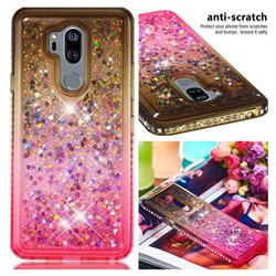 Diamond Frame Liquid Glitter Quicksand Sequins Phone Case for LG G7 ThinQ - Gray Pink