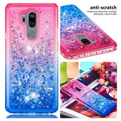 Diamond Frame Liquid Glitter Quicksand Sequins Phone Case for LG G7 ThinQ - Pink Blue