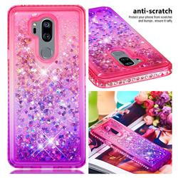 Diamond Frame Liquid Glitter Quicksand Sequins Phone Case for LG G7 ThinQ - Pink Purple