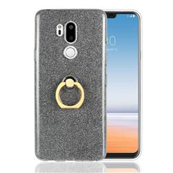 Luxury Soft TPU Glitter Back Ring Cover with 360 Rotate Finger Holder Buckle for LG G7 ThinQ - Black