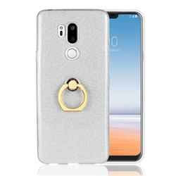 Luxury Soft TPU Glitter Back Ring Cover with 360 Rotate Finger Holder Buckle for LG G7 ThinQ - White