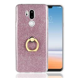 Luxury Soft TPU Glitter Back Ring Cover with 360 Rotate Finger Holder Buckle for LG G7 ThinQ - Pink