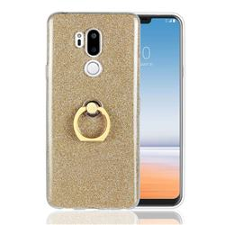 Luxury Soft TPU Glitter Back Ring Cover with 360 Rotate Finger Holder Buckle for LG G7 ThinQ - Golden