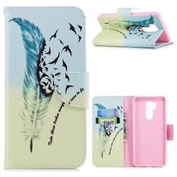Feather Bird Leather Wallet Case for LG G7 ThinQ