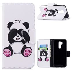 Lovely Panda Leather Wallet Case for LG G7 ThinQ