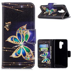 Golden Shining Butterfly Leather Wallet Case for LG G7 ThinQ