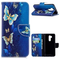 Golden Butterflies Leather Wallet Case for LG G7 ThinQ