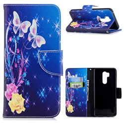 Yellow Flower Butterfly Leather Wallet Case for LG G7 ThinQ