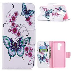 Peach Butterflies Leather Wallet Case for LG G7 ThinQ
