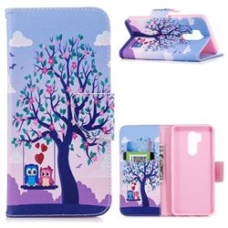Tree and Owls Leather Wallet Case for LG G7 ThinQ