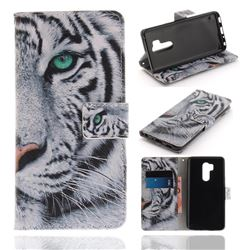 White Tiger PU Leather Wallet Case for LG G7 ThinQ