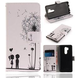 Couple Dandelion PU Leather Wallet Case for LG G7 ThinQ