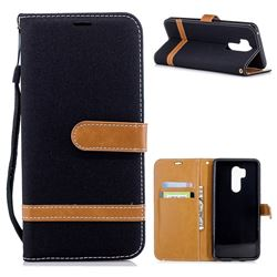 Jeans Cowboy Denim Leather Wallet Case for LG G7 ThinQ - Black