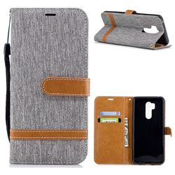 Jeans Cowboy Denim Leather Wallet Case for LG G7 ThinQ - Gray