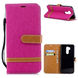 Jeans Cowboy Denim Leather Wallet Case for LG G7 ThinQ - Rose