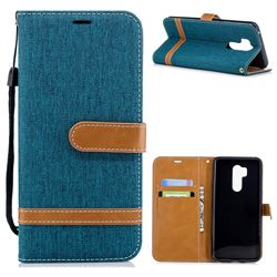Jeans Cowboy Denim Leather Wallet Case for LG G7 ThinQ - Green