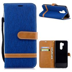 Jeans Cowboy Denim Leather Wallet Case for LG G7 ThinQ - Sapphire