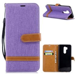 Jeans Cowboy Denim Leather Wallet Case for LG G7 ThinQ - Purple