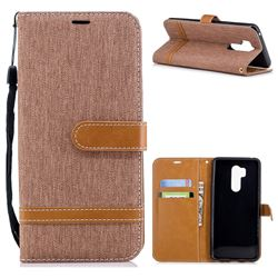 Jeans Cowboy Denim Leather Wallet Case for LG G7 ThinQ - Brown