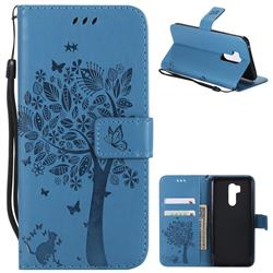 Embossing Butterfly Tree Leather Wallet Case for LG G7 ThinQ - Blue