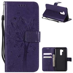 Embossing Butterfly Tree Leather Wallet Case for LG G7 ThinQ - Purple