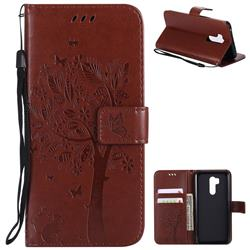 Embossing Butterfly Tree Leather Wallet Case for LG G7 ThinQ - Brown