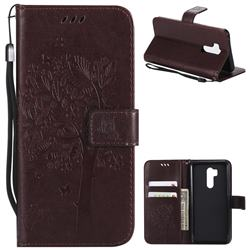 Embossing Butterfly Tree Leather Wallet Case for LG G7 ThinQ - Coffee