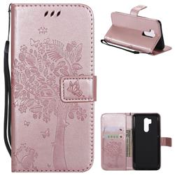 Embossing Butterfly Tree Leather Wallet Case for LG G7 ThinQ - Rose Pink