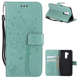 Embossing Butterfly Tree Leather Wallet Case for LG G7 ThinQ - Cyan