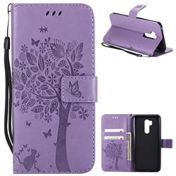Embossing Butterfly Tree Leather Wallet Case for LG G7 ThinQ - Violet