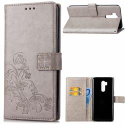 Embossing Imprint Four-Leaf Clover Leather Wallet Case for LG G7 ThinQ - Grey