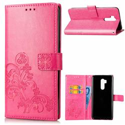 Embossing Imprint Four-Leaf Clover Leather Wallet Case for LG G7 ThinQ - Rose