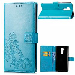 Embossing Imprint Four-Leaf Clover Leather Wallet Case for LG G7 ThinQ - Blue