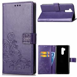 Embossing Imprint Four-Leaf Clover Leather Wallet Case for LG G7 ThinQ - Purple