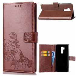 Embossing Imprint Four-Leaf Clover Leather Wallet Case for LG G7 ThinQ - Brown